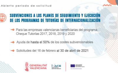 AYUDAS A LOS PLANES DE SEGUIMIENTO DE LOS PROGRAMAS DE TUTORIAS DE INTERNACIONALIZACION DE LAS PYMES DE LA C.V. 2021