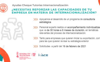 CHEQUE TUTORÍAS INTERNACIONALIZACIÓN (ASESORAMIENTO A EMPRESAS 2021